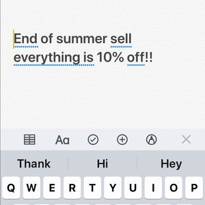 End of the Summer sale! 10% off everything!